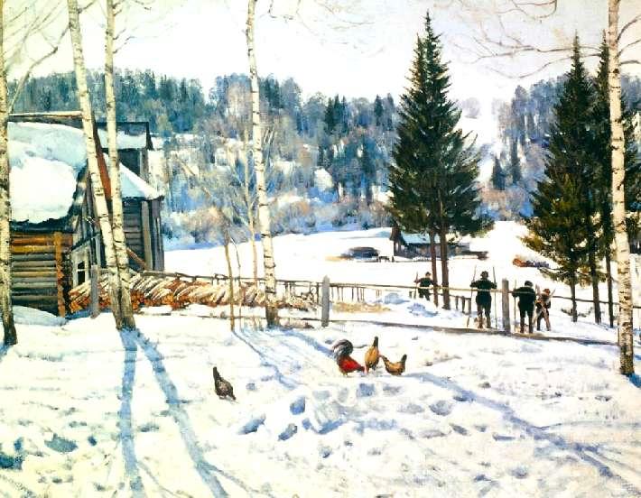 Сочинения по картине Юона «Конец зимы. Полдень» (3 класс)