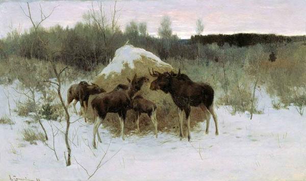 Сочинение по картине Степанова «Лоси» (2 класс)
