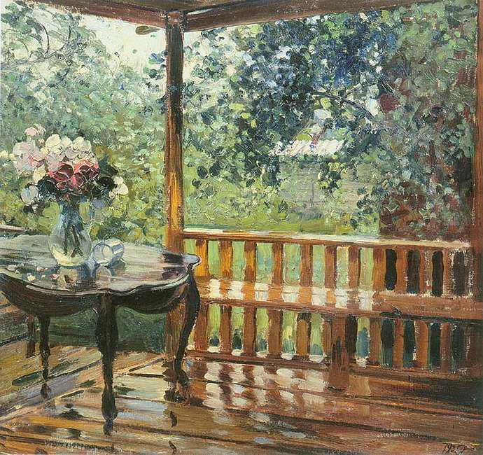 Сочинение по картине Герасимова «После дождя» (6 класс)