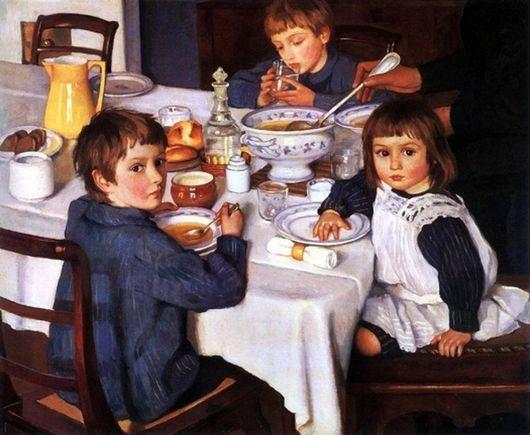 Сочинение по картине Серебряковой «За обедом» (2 класс)